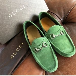 Gucci King Horse Bit Green Suede Driving Loafers